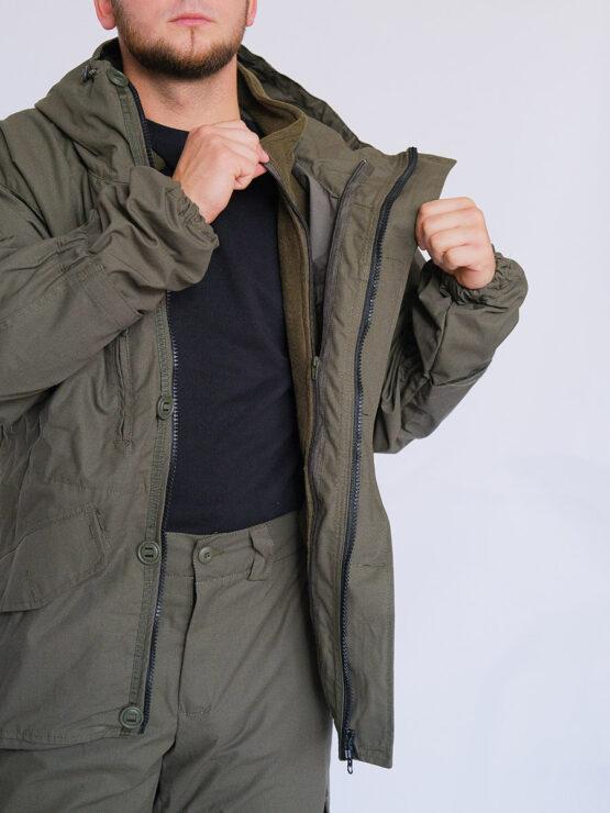 Флисовая подстежка-жакет в куртке INRUSKA TWIN, рип-стоп, хаки — магазин всегорки.рф